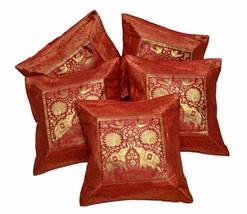 5pcs-100Pcs Red Indian Silk Banarasi Embroidered Cushion Covers Wholesal... - $29.99+