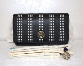 Tory Burch Robinson Perforated Mini Crossbody Bag Black/off white Leathe... - $134.99