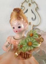 Vintage Signed Josef Originals Peach Dress Girl Figurine - $35.00