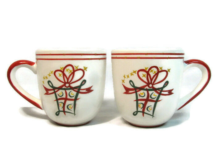 Primary image for  Pier 1 Imports Coffee Mug Cup Set of 2 Holiday Gift Bow Stars Red Green 16 Oz