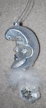 "Moon & Star Handblown Glass Christmas Ornament 6"" Silver Glitter Feather... - $14.80"