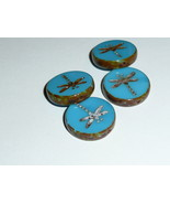 Turquoise Opaque Blue Rustic Style Dragonfly Coin Beads  (4)  17mm  Drag... - $6.99