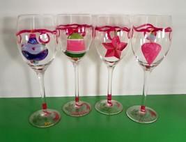 Tabla HOLIDAY TIDINGS HandPainted Christmas Wine Water Goblet (s) JOY LO... - $29.65