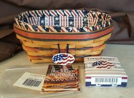 Longaberger 1999 All American BLUE RIBBON BREAD BASKET #14346 Liner & Pr... - $24.00