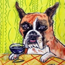 Boxer at the wine bar dog art tile coaster gift artwork yellow background - $14.99
