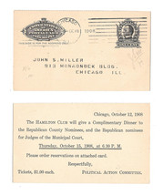 UY4m Postal Stationery Card 1908 Republican Political Chicago Time Cummi... - $9.95