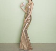 ROSE GOLD One Shoulder Sequin Dress Women Plus Size Mermaid Maxi Sequin Dresses image 6