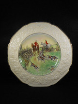 Crown Ducal Florentine Hunt Scene Plate 2 Horsemen with Hounds Signed 10... - $45.49