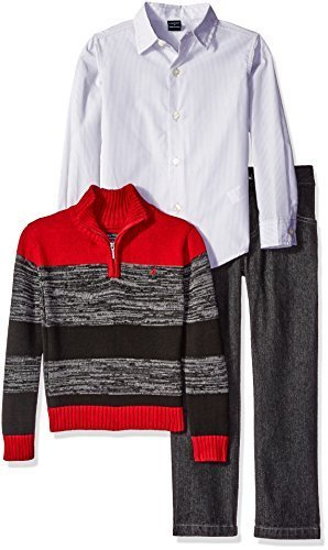 Nautica Little Boys' Toddler Three Piece Set with Woven Shirt Zip Sweater and De