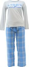NFL Women's Pajama Set Long Slv Top Flannel Pants Lions L NEW A387687 - $30.67