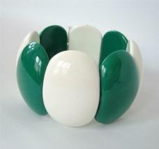 Vintage Lucite Bracelet Bangle Green White Panel Stretch Expansion 60's 70s - $19.79