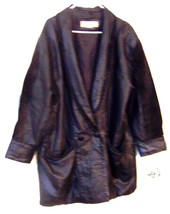 Omint Black Leather Woman's Coat with Suede Sleeves Plus Size 2X 3X - $61.75