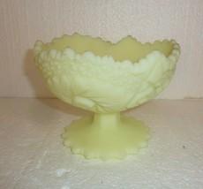 Vintage Satin Custard Fenton Glass Pedestal Candy Dish with Sticker - $29.02