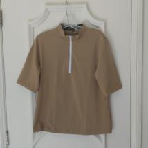 Stylish Women's Golf & Casual Tan Short Sleeve Mock Polo, Rhinestone Zipper  image 1