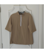 Stylish Women's Golf & Casual Tan Short Sleeve Mock Polo, Rhinestone Zip... - $29.95