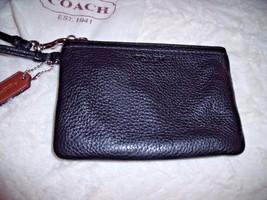 NICE COACH Black Leather  WRISTLET W/ Dust Bag Pebble w/ Brown Coach Han... - $24.14