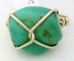 Turquoise Gemstone Bead Silver Wire Wrap Ring sz 8 - $10.08