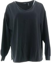 H Halston Long Slv French Terry Sweatshirt Tunic Black M NEW A344926 - $13.83