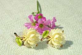 RARE Art Deco Bone Rose Clip on Earrings - RARE Art Deco Bone Rose Jewelry - $54.34