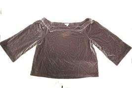 New Calvin Klein J EAN S Women's Gray Off-The-Shoulder 3/4 Sleeve Velvet Top Xl - $36.79