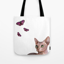 Tote bag Allover print Cat 578 Sphynx Sphinx butterfly pink art painting... - $26.99+