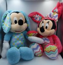 Disney Mickey & Minnie Mouse Easter Bunny Plushies Set Blue Pink Polka Dot - $10.00