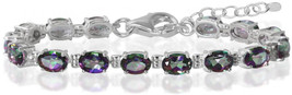 13.05ct. Mystic Fire Topaz 925 Sterling Silver 6-7.5' Adjustable Tennis ... - $23.59