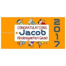 Kindergarten Class of 2017 Graduation Banner Personalized Party Backdrop - £13.88 GBP