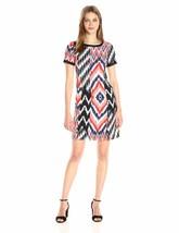 Jones New York Women's Tshirt Dress W Rib Trim, Coral Combo, 10 - $18.81