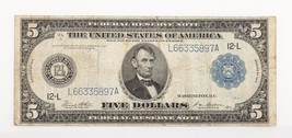 Series of 1914 $5 Federal Reserve Note Fine Condition White/Mellon - $98.99