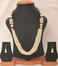 New Indian Gold Plated White Beads Kundan Fashion Necklace  Earrings Jewelry Set - $13.65