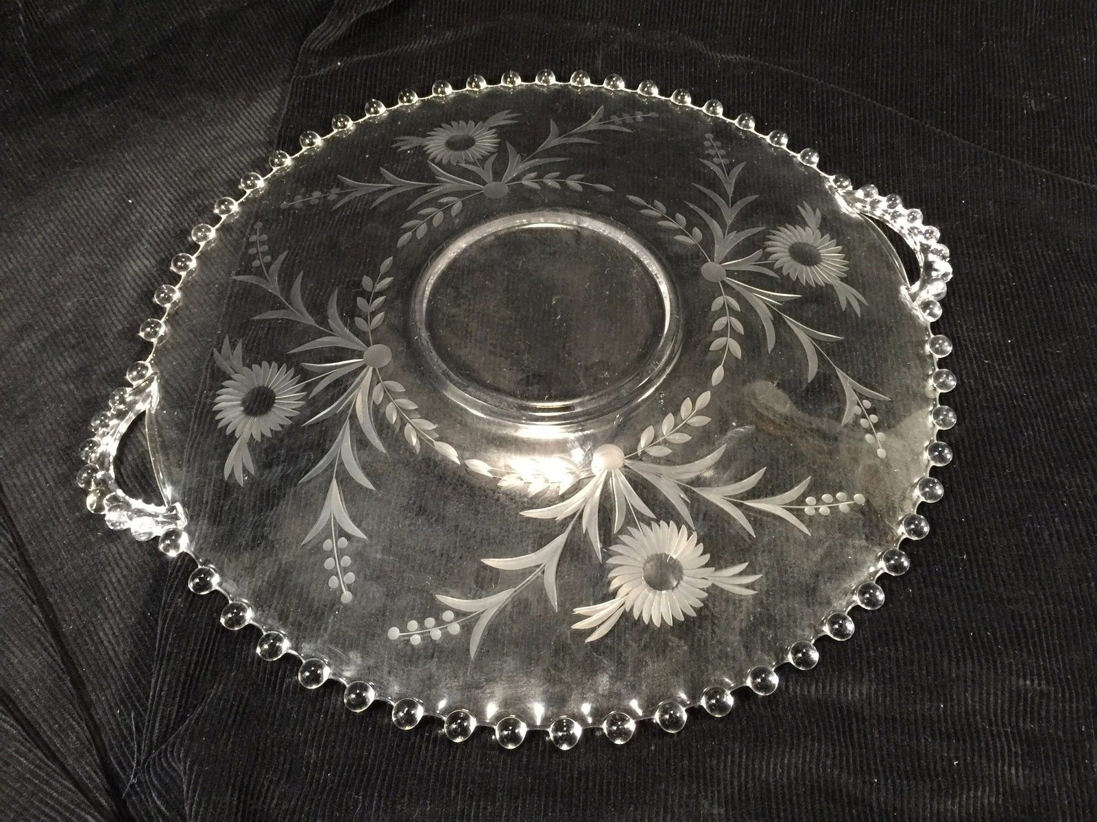"""Candlewick Clear Glass Serving Platter With Etched Flower Design And Handles 14"""""""