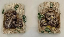 Owl Ceramic in Tree Wall Hanging Vintage Set of 2 - $24.70