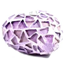 Concrete & Crushed Lilac Mosaic Glass Heart Shaped Ornament Handmade in Mexico image 3