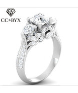 CC Hyperbole Silver Rings For Women Palace Vintage Flowers Bridal Weddin... - $12.56