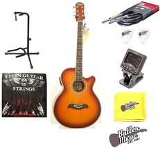 Oscar Schmidt OG10CEFYS Flame Sunburst A/E Guitar w/Picks, Strings Bundle - $192.48