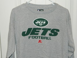 Team New York Jets NFL Team Apparel Shirt Long sleeves Gray Mens Size Me... - $14.20