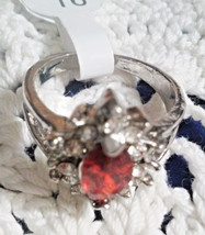 STUNNING MODERN ESTATE RED MARQUIS & CLEAR STONES SILVER TONE RING SIZE ... - $3.00