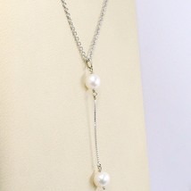 Necklace White Gold 750 18K, Trailer 2 Beads White, Chain Rolo image 2