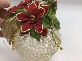 "Crochet Lace Ball Christmas Ornaments Starched White 3.25"" Poinsettia Ri... - $12.21"