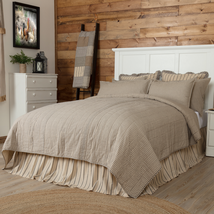 Sawyer Mill Charcoal Ticking Stripe - Quilted Coverlet - VHC Brands