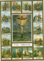 "Catholic Print Picture Stations Of The Cross Crucifix Via Crucis 7 1/2 X 10"" - $14.01"