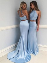 Eleg Glamour Two-Piece Round Neck Sweep Train Blue Prom Dress with Beading - $179.00
