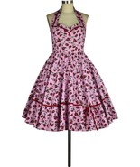 Pink Red Strawberry Rockabilly Retro 1950s Swing Dress Vintage 50s Pin U... - $53.46