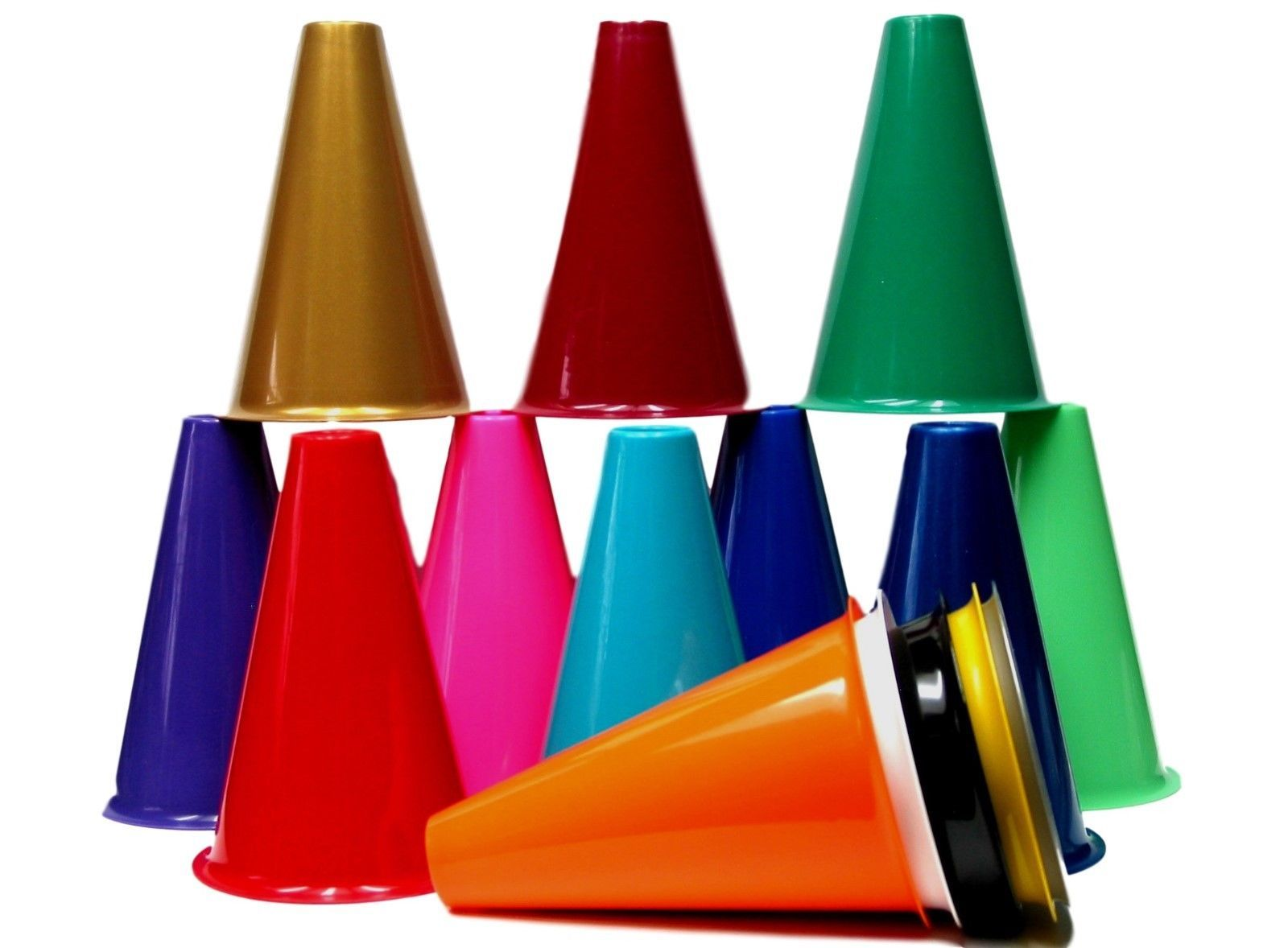 Primary image for 10 Cheer Leading Megaphones, 8 Inches Tall, Choice of Colors, Mfg USA Lead Free