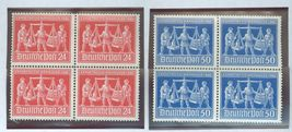 1948 Hannover Fair 2 Blocks of 4 Germany Stamps Catalog Number 584-85 MNH