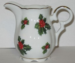 Lefton China Creamer Small Hand Painted Holly Berries Leaves Gold Trim N... - $17.82