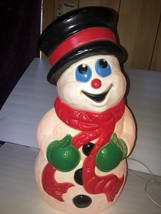 """Vintage Snowman Blow Mold  Lighted Plastic 19"""" Tall Grand Venture - $78.97"""