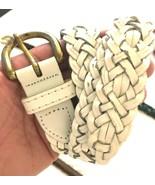 "CAPEZIO BELT white BRAID Leather Buckle Size 36"" inches - $9.85"