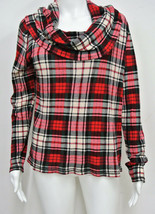 RALPH LAUREN Textured Cotton Cowl Neck Top Shirt Red Plaid L  - $26.99